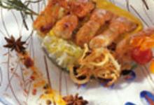 Brochette de langoustines caramélisées à la confiture de mandarine, délicatement parfumé au curry de madras