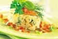 Pommes de terre écrasées aux oeufs de saumon et crème à l'aneth par le chef Jacq