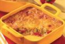 Gratin d'été : poivrons, courgettes et céréales, sauce pesto rouge