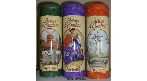 Confiserie: LES BÊTISES DE CAMBRAI - Série sur PARIS - Lot de 3 Boites différentes tubo-fer 500 gr