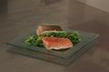 Pavé de saumon à l'unilatérale, étuvée de haricots verts