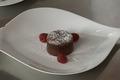 Fondant au chocolat, coeur de framboise