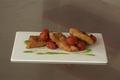 Sole frite, coulis de petits pois et tomates cerises