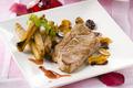 Steak d'agneau aux amandes et aubergines