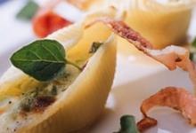 Coquillettes farcies au jambon de Parme et Gruyère AOC