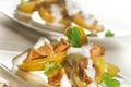 Pompadour farcies aux champignons et sauce au lait de coco
