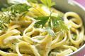 Fettuccini Sautes A L'Ail, Creme Fraiche Et Persil