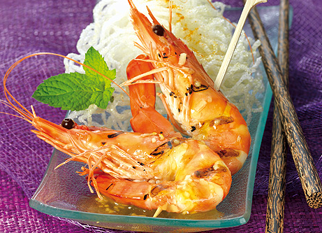 Recette gambas grill es au miel - Accompagnement gambas grillees ...