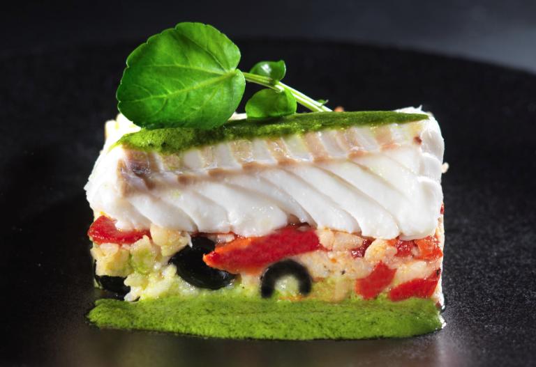 Recette dos de cabillaud sur risotto et pesto de cresson - Cuisiner du cabillaud au four ...