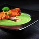 Velouté de cresson et foie gras de canard poêlé, bacon croustillant