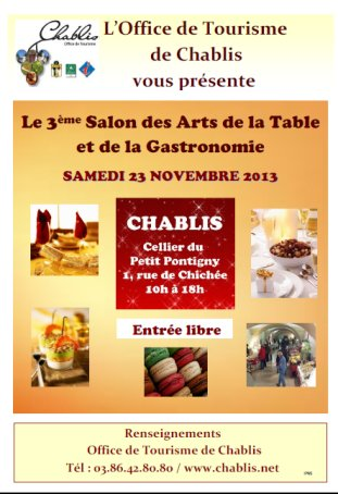 Salon des arts de la table et de la gastronomie chablis for Salon des arts de la table
