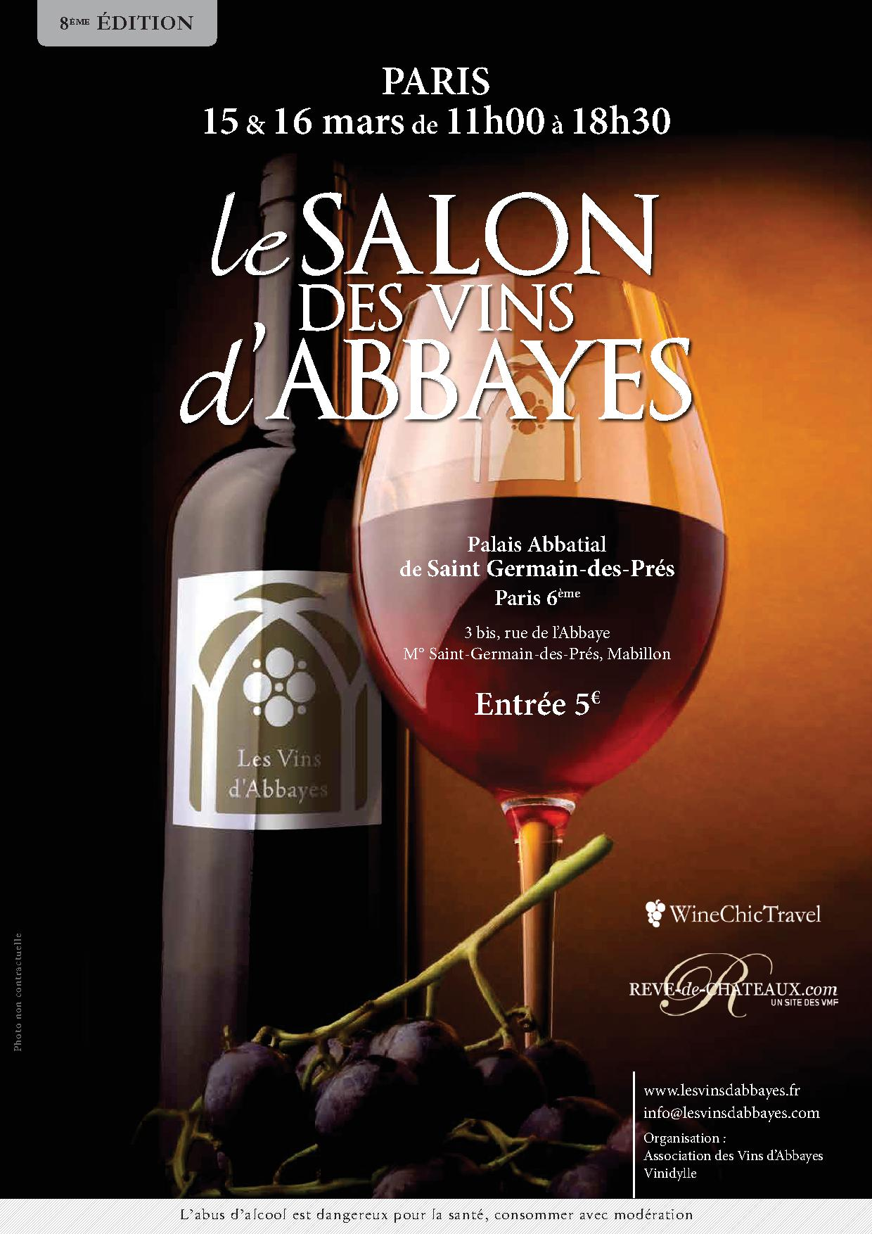 Salon des vins d 39 abbayes 8 me dition paris paris 6 me for Calendrier salon des vins