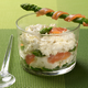 Verrine crabe-asperges au saumon fumé et son gressin d'asperge