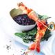 Pics de crevettes avec sauce piquante aux myrtilles sauvages