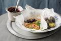 Filet de saumon  sur purée de myrtilles sauvages