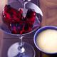 Gelée de merlot aux myrtilles avec sauce sabayon à la vanille