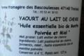 La Ferme des Bascoulesses, yaourt de chèvre à la menthe