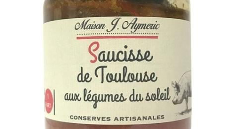 Conserverie Aymeric. Saucisse de Toulouse aux légumes du soleil