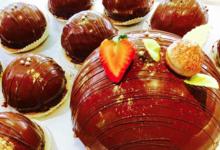 Pâtisserie La Marquisienne. Dôme au 3 chocolats sur pâte sablée